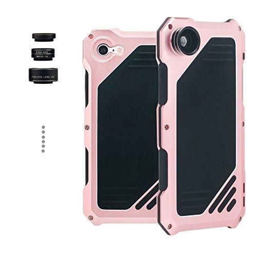 Arblove iPhone 6/6s Kit Custodia Impermeabile Con 3 Lenti Cellulari,Ultra Sottile e leggero IP 54 360 Grado Alluminio Waterproof e Full Sealed Antiurto Antipolvere Cover Case per iPhone 6/6s Nero