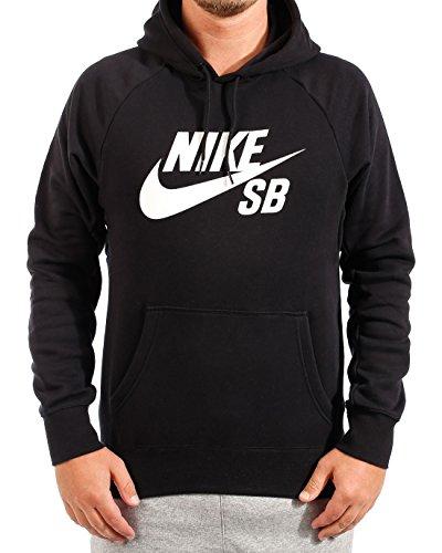 White Nike Sb (Nike Herren Sweatshirt Sb Icon Kapuzensweatshirt, Black/White, L)