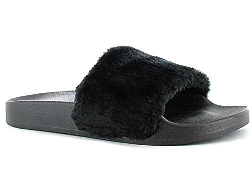 ladies-ella-tito-faux-fur-trim-fashion-sliders-peep-toe-flat-slip-on-sandals-mules-size-3-8-uk-3-bla