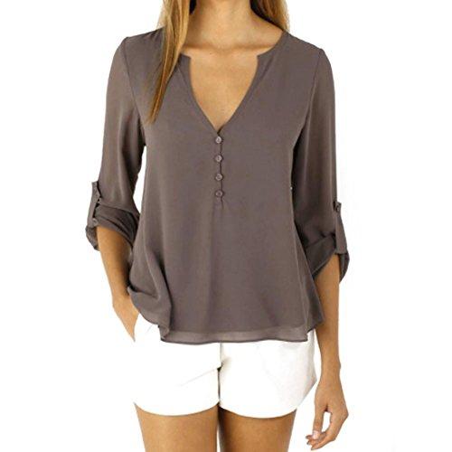 Riou Damen Lose Langarm Chiffon beiläufige Bluse Shirt Tops Fashion Bluse Vintage V-Ausschnitt Hemd mit Knopf (XL, Kaffee)