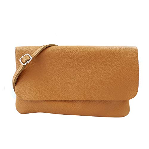 SH Leder Echtleder Umhängetasche Clutch kleine Tasche Abendtasche 24,50x15cm Ely G149 (Camel) -