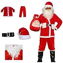 Matissa Traje de Santa Claus para Hombre y Barba Papá Noel 5 Piezas Traje de Disfraz