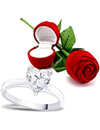Peora Valentine's Day Gift Hamper Of Sterling Silver Ring With Red Rose Gift Box For Girlfriend/Gift For Her/Gift...
