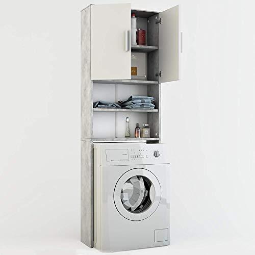 *Vicco Waschmaschinenschrank 190 x 64 cm – Badregal Hochschrank Waschmaschine Bad Schrank Badezimmerschrank Überbau (Grau)*
