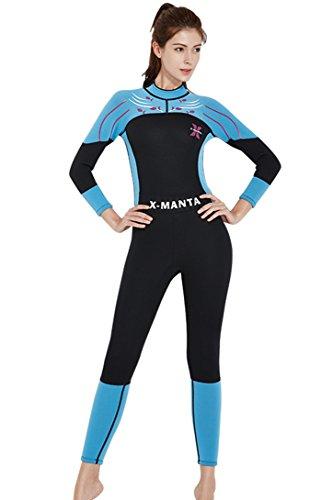 Micosuza Damen Neoprenanzug Lang 3MM Full Longsuit Surfanzug UV Sonnenschutz Schnorchelanzug mit Rückenreißverschluss Tauchanzug