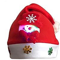 HEJIANGTAO Muñeco de Nieve para Adultos Sombrero de Dibujos Animados navideños Decoraciones Brillantes para niños de jardín de Infantes, Modelos de muñecos de Nieve (niños con luz)