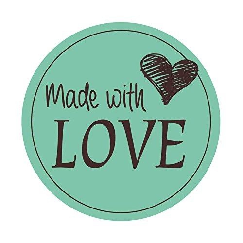 easydruck24de 48 Aufkleber Made with Love Mint I Div_027 I mit Liebe Selbst Gemacht I Marmeladen-Sticker Geschenk-Aufkleber Geschenk-Tüten Plätzchen-Tüten I Ø 4 cm