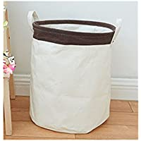 Saint Kaiko Cotton Pop Up Laundry Hamper Foldable with Lid Laundry Basket Laundry Bin Round Storage Basket Dirty Clothes Holder for Nursery Toys Clothing (Brown)