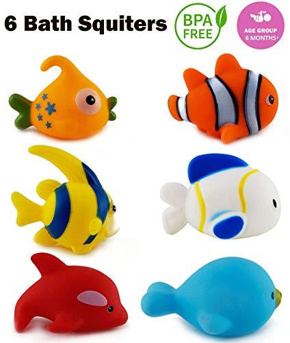Wish key Chu Chu Colorful Floating Bath Toys for Baby Aquatic Fish Animals Set of 6 Non Toxic BPA Free