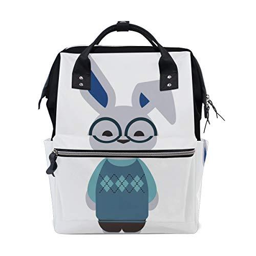 Brille Kaninchen Schöne Ohren Große Kapazität Wickeltaschen Mama Rucksack Multi Funktionen Windel Pflegetasche Tote Handtasche Für Kinder Babypflege Reise Täglichen Frauen
