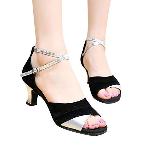Damen Latein Salsa Performance Praxis Tänzer Tanzschuhe Satin mit funkelnden Glitter Latein Latin Dance Schuhe hohe Absätze Ballsaal Performance Sandalen Tanzschuhe Casual Sandalen 5cm TWBB - Glitter Bow Flats Schuhe