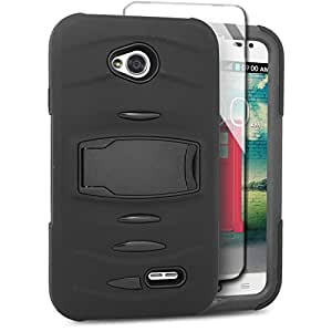 Eagle Cell Hybrid Armor Case Built In Screen Protector for LG L70/Ultimate 2 L41C/Exceed 2/Realm - Retail Packaging - Black
