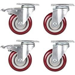 Meditool 4 Puces Roulette Pivotante avec Frein, Lot de 4 Roulettes pour Meubles avec Capacité de 480kg, Rouge
