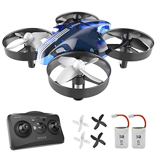 ATOYX Mini Drone, AT-66 RC Drone Niños 3D Flips, Modo sin Cabeza, Estabilización de Altitud, 3 Modos de Velocidad, 4 Canales 6-Ejes, 2 Baterías, Regalo para Niños y Principiantes, Azul