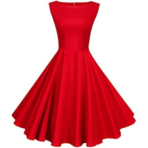 Anni Coco® Mujer Vestido Clásico 1950s Retro Encaje Tejer V-Back Tunica