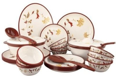 Nayasa Round Printed Microwaveable Dinner Set 32 Pc - Cotton Flower
