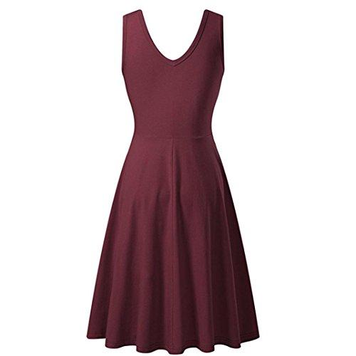 Italien, Kleid, Hose (UFACE Ärmelloses Einfarbiges Weste Kleid Frauen Sommer Solid Casual ärmelloses Kleid Outdoor (L, Wein))