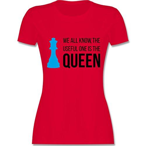 Typisch Frauen - Schach-Damen Queen - Damen T-Shirt Rundhals Rot
