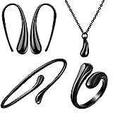 Teardrop Necklace Earring Ring Bangle Set Teardrop Drop Dangle Fish Hook Earring