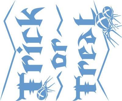 Adesivo da parete adesivi per Halloween Trick or Treat timando con scritta, Blu pastello, 36 x 30 cm