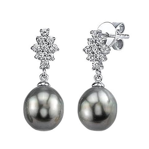 9 mm Tahitische SüDsee-Perle Glaskristall Gina &Zuchtperle Ohrringe (Südseeperlen & Diamant-armband)