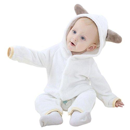 Baby Kapuzenpulli Honestyi Niedliches Kind scherzt Baby oder Mädchen Tierform Spielanzug Overall Ausstattungs Kleidung (Weiß,90)