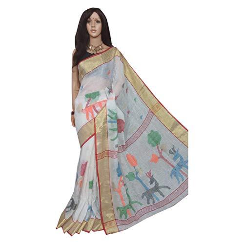 ETHNIC EMPORIUM Damen White Linen Jamdani Handloom Handmade Formal Saree Fädeln Sari Bluse West Bengal Indian Frauen 157A 6,25 mtr Wie gezeigt -