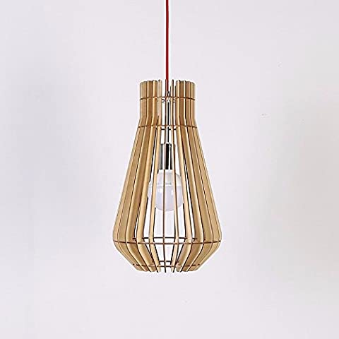 HENGXin @ Cesti di pesce Creative lampadario appeso in legno lampada LED moderni soffitto in legno Ciondolo lampada luce ombra semplice ragazzino Cucina Camera da letto soggiorno sala da pranzo Droplight (nero)