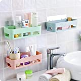 Dillion Kitchen Wall Holder Storage Rack Organizer Plastic Bathroom Rack Storage Box Strong Magic Sticker Multi colour…