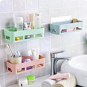 GAHI Kitchen Bathroom Shelf Wall Holder Storage Rack Bathroom Rack Storage Box Strong Magic Sticker Shower Rack Shelf - Multi colour (Set of 2)
