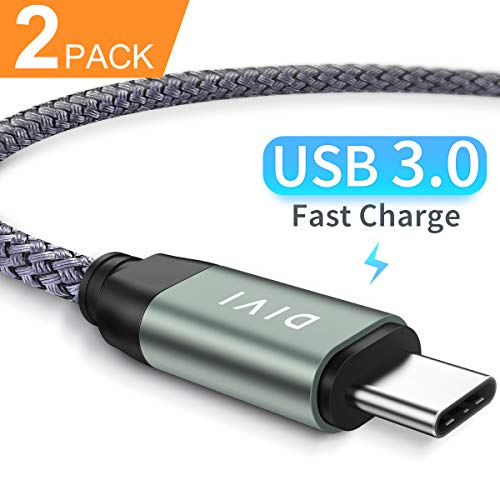 DIVI USB C Kabel auf USB 3.1 A, [2 Stück] 2m Aluminum USB Typ C Schnell Ladekabel, Nylon USB 3.0 Kabel für Samsung Galaxy S9 S8 Plus,Note8 A5 A3 2017, LG G5 G6, Huawei P9 P10, Sony by