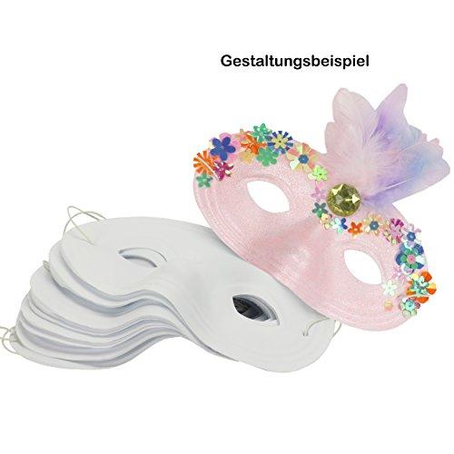 Halb-Masken 12 Stück aus Kunststoff 16x9 cm weiße Gesichtsmaske mit Gummizug Faschingsmaske bemalen basteln gestalten Karneval Fasching Maskenball Kostüm-Ball 20510 ()