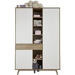 trendteam Babyzimmer Kleiderschrank Schrank Boston, 128 x 192 x 60 cm in Korpus Eiche Honig Dekor, Front Weiß mit offenen Fächern und viel Stauraum