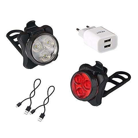 Akale Kit lampes de vélo LED rechargeables avant et arrière avec 4modes d'éclairage, 2câbles USB et 1chargeur 350
