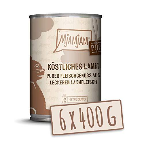 MjAMjAM - Premium Nassfutter für Katzen - purer Fleischgenuss - köstliches Lamm pur, 6er Pack (6 x 400 g), getreidefrei mit extra viel Fleisch