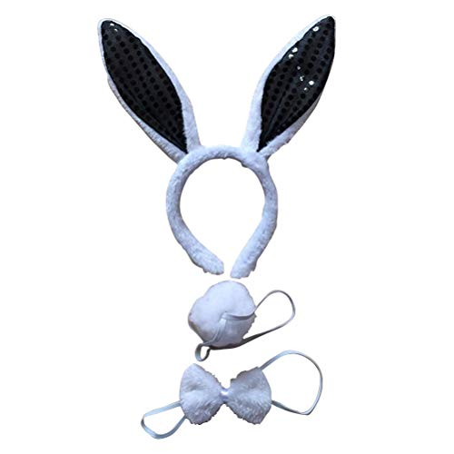Toyvian Erwachsene Kostüm Anzug Kaninchen Ohren Stirnband Fliege Schwanz Set Leistung Requisiten für Cosplay Party (3 stücke Pailletten, Schwarz)