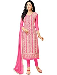 Rajnandini Women's Chanderi Embroidered Dress Material (JOPLMF4007_Pink_Free Size)