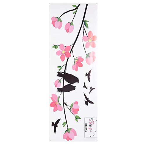 DIY Abnehmbare PVC Vivd Hintergrund Dekor, aus PVC-Material, für Schränke, Türen, Glas, Metall und Fliesen oder auch im Badezimmer(50 * 70cm-Rosa Blumenzweigvogel) ()
