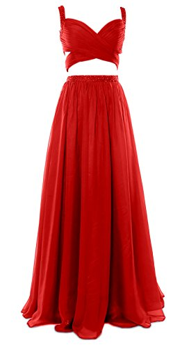 MACloth Women 2 Piece Long Prom Dress Chiffon Sexy Homecoming Party Formal Gown red