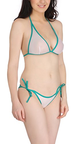 FIMS® Women's Net Sexy Bridal Honeymoon Bra Panty Bikini/Lingerie Set_Pack of 1-Green-Size_36  available at amazon for Rs.125