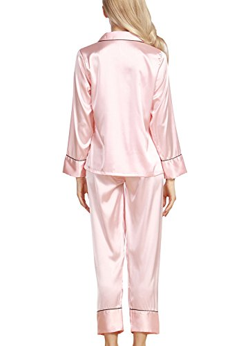 Dolamen Damen Satin Schlafanzug Nachthemd Negliee, Sleepshirt Schlafanzug, Luxus und Attraktiv Ladies Lang Nachtwäsche Nachtkleid Lingerie Pyjamas Sleepwear Rosa