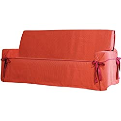 Eysa Italia Salvadivano con Lacci Plus 3 Posti, Poliestere-Cotone, Arancione, De 180 a 230 cm