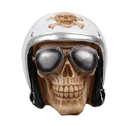 FIZZENN Harz kämpfer Pilot Helm schädel mit Flieger Sonnenbrille Shades Statue makaber kreative Halloween schädel Modell schädel Figurine