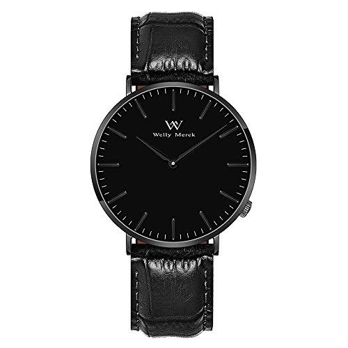 Welly MERCK Herren Armbanduhr Luxus minimalistisches Design Quarzwerk Saphirglas Analog Armbanduhr mit 20mm Italien echtem Leder austauschbar schwarz Gurt, 5ATM wasserdicht
