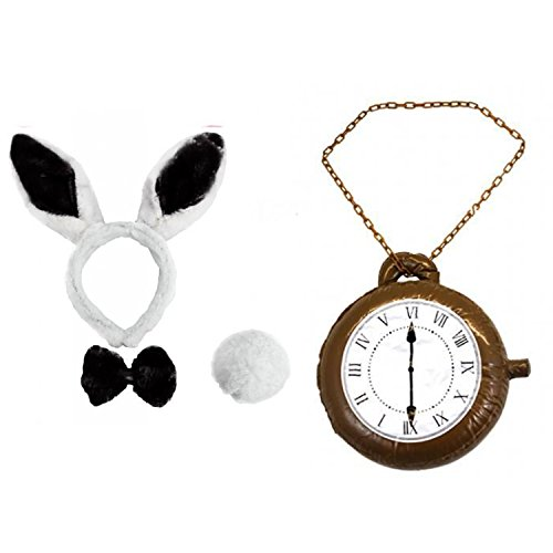 ILOVEFANCYDRESS Schwarz und Weiße Hasenohren mit Schwänzchen und schwarzer Fliege und Einer übergroßen Uhr (Alice Im Wunderland Bunny Kostüm)