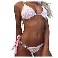BHPL High waisted bikini bikini swimsuit for women gradient pink sequined rhinestone swimsuit suit women bikini,L