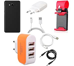 NIROSHA Cover Case Charger USB Cable Mobile Holder for Xiaomi Redmi 2s - Combo