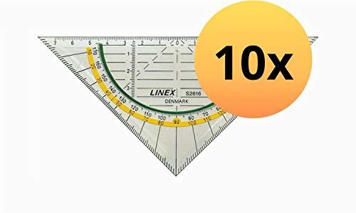 LINEX 100414165 Geodreieck S2616 10er Pack Super Ruler Geometrie-Dreieck 16 cm mit gegenläufiger Skala, Rutschbremse und Facette glasklar