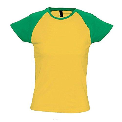 SOLS Milky Damen T-Shirt, Kurzarm, Rundhalsausschnitt, Kontrastfarben Burgunder/Grau meliert