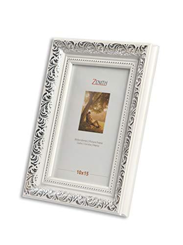 "Victor antiker Bilderrahmen \""Rubens\"" weiß Silber in 30x40 cm - Leiste: 30x20 mm - Echtglas - barock"